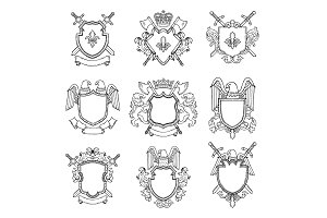 Template of heraldic emblems for different design project