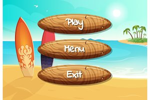 Vector cartoon style wooden buttons with text for game design on surfboards on the beach background