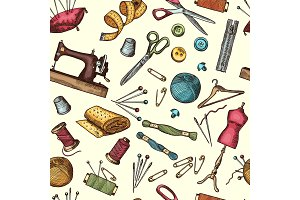 Fashion seamless pattern with pictures of industrial tools for needlework or sewing workshop