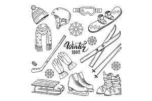 Illustrations of winter sport. Scarf, gloves, ski and others