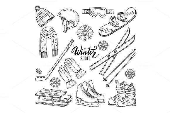 Illustrations Of Winter Sport Scarf Gloves Ski And Others