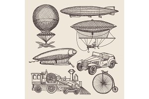 Illustrations of different retro transport. Balloons, zeppelin, machines and others. Hand drawn illustrations in steampunk