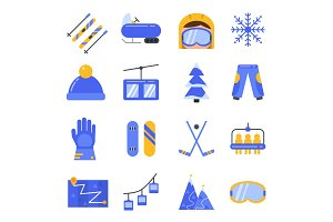 Accessories of winter sport. Vector icon set in flat style