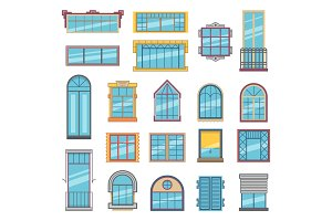 Balcony and wooden or plastic windows with glass. Architectural illustrations set in flat style