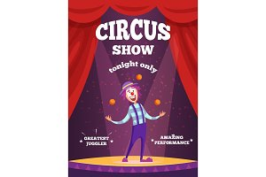 Invitation poster for circus show or magicians performance. Illustration of clown juggle on the scene