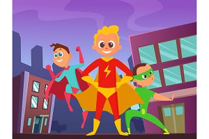 Urban background with superhero kids in action poses. Illustrations of strong and funny heroes