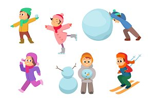 Kids playing in winter games. Different childrens in action poses