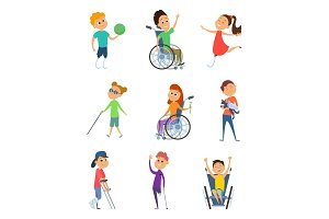 Disabled people. Wheelchair for kids. Children with disability. Vector characters in cartoon style