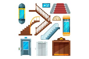 Elevators and stairs in different styles. Lift mechanisms in cartoon style