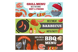 Vector horizontal banners set with illustrations of different foods for bbq party