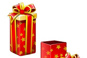 Open box with gifts. Vector