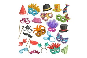 Different elements for carnival. Funny masks for masquerade. Vector illustrations in cartoon style