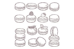 Hand drawn illustrations of paris cuisine. Delicious macaroons with different tastes