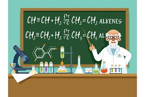 Professor in his laboratory for experiments. Medical and chemical ingredients. Vector background illustration