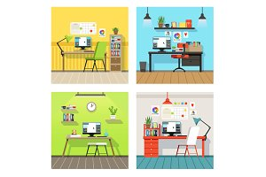Creative work space for designers and artists with different tools. Vector banners set in cartoon style
