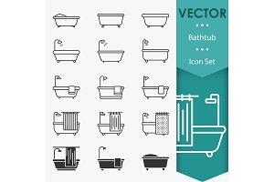Bathtub icons vector