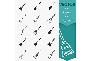 Broom icons vector
