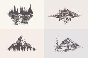 Collection of mountain landscapes