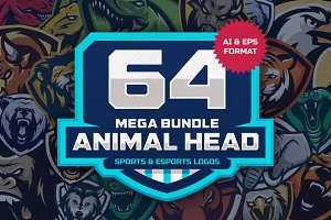 64 ANIMAL HEAD SPORT MASCOT DESIGNS