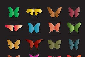 Vector group of colorful butterfly.