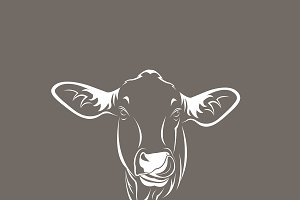 Vector of a cow head design on brown