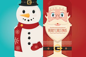 Santa Claus with gift and Snowman