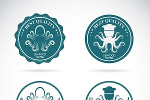 Set of vector octopus seafood labels