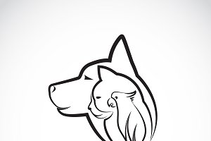 Vector of a dog cat and bird. Logo.