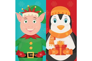 Christmas elf and penguin