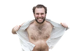 The bearded man tearing his shirt