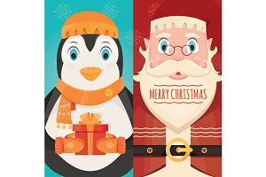 Santa Claus with gift and penguin
