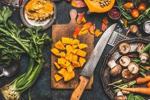 Chopped Pumpkin with knife