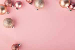 Christmas deco balls on pink