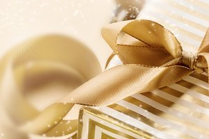 Closeup of glittering gift ribbon