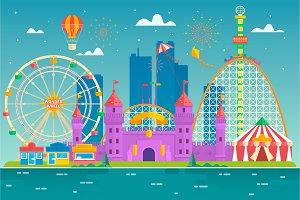Amusement park with attraction and rollercoaster, tent with circus, carousel or round attraction, merry go round, ferris wheel Flat colorful vector style illustration