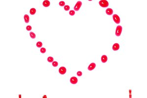 Heart from red liquid