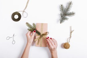 decorate the box with gifts