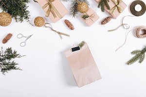 paper bag and Christmas balls