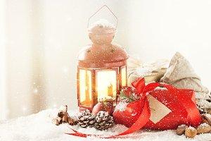Closeup of Christmas deco horizontal