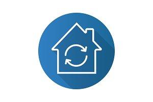 Home restoration flat linear long shadow icon
