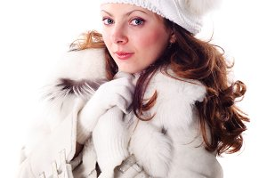 Waman in white cap and coat