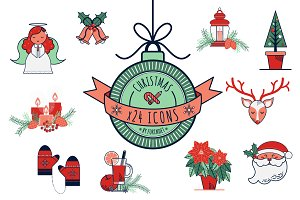 24 Christmas Illustrative Icons