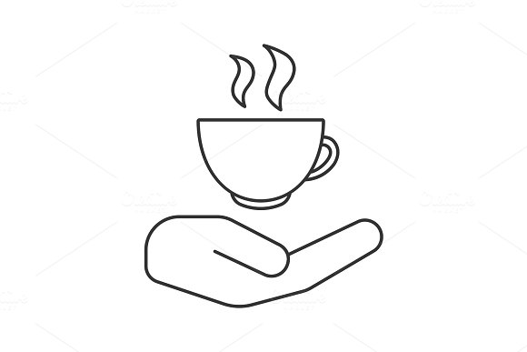 Open hand with hot drink cup linear icon