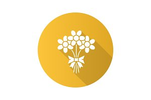 Bunch of flowers flat design long shadow glyph icon