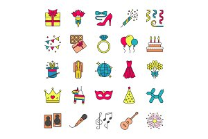 Holiday accessories color icons set
