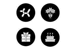 Birthday party accessories glyph icons set