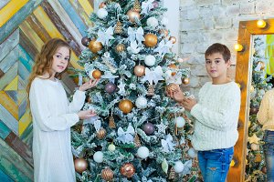 Portrait of happy girl and boy decorating Christmas tree
