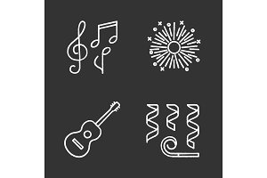Party accessories chalk icons set