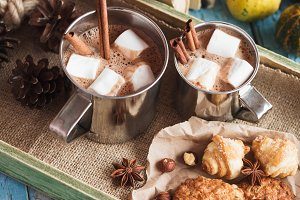 Metal cups with cacao and marshmallow and different cookies