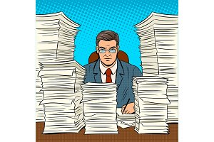 Businessman with piles of papers pop art vector